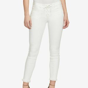WILLIAM RAST WHITE LACE UP FRAYED SKINNY JEANS 31